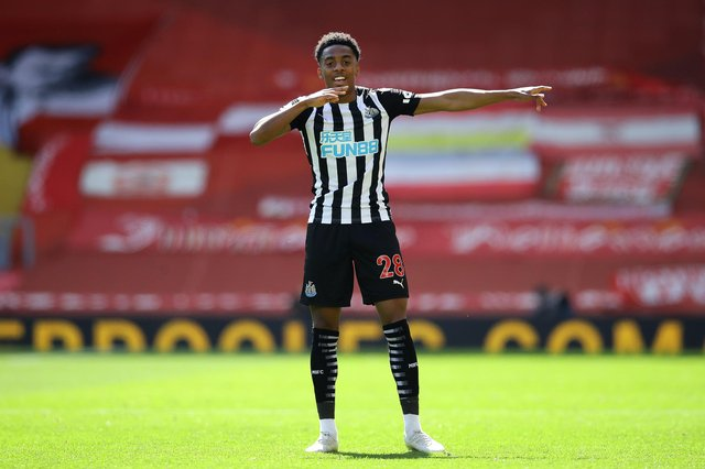 Joe Willock of Newcastle United celebrates after scoring their side's first goal during the Premier League match between Liverpool and Newcastle United.