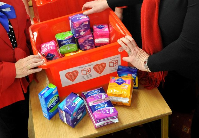A previous Red Box collection to help fight period poverty in South Tyneside