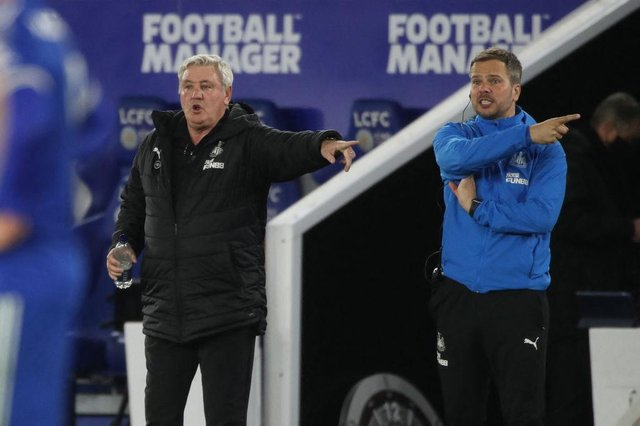 Steve Bruce and coach Stephen Clemence at the King Power Stadium.