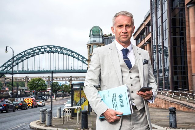 Detective Superintendent John Bent, then of Northumbria Police, outside Newcastle Crown Court as part of the BBC one documentary Our Cops in the North, which followed the work of his team as as they investigated the death of Patryk Mortimer in a blaze at the Manor House Care Home in Easington Lane. Photographer: Ryan McNamara