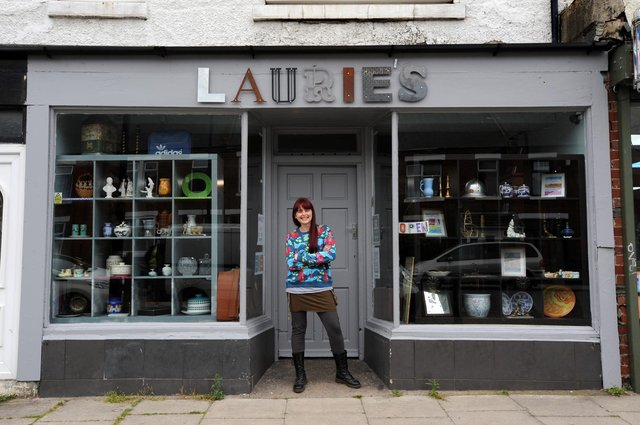 Antique dealer Laurie Scully in her shop North Road, Boldon Colliery.