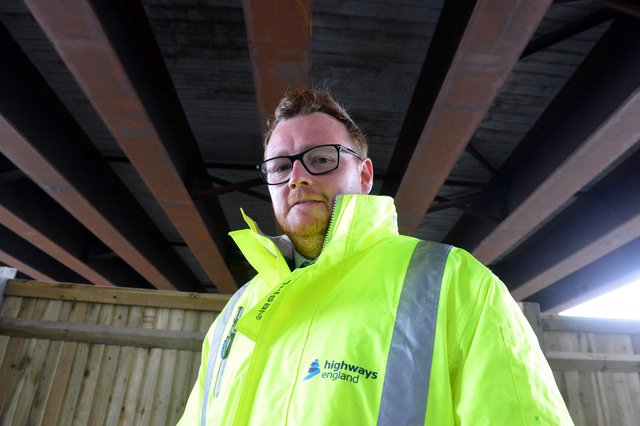 Highways England project manager Liam Quirk at the flyover of the Testo's junction upgrade.