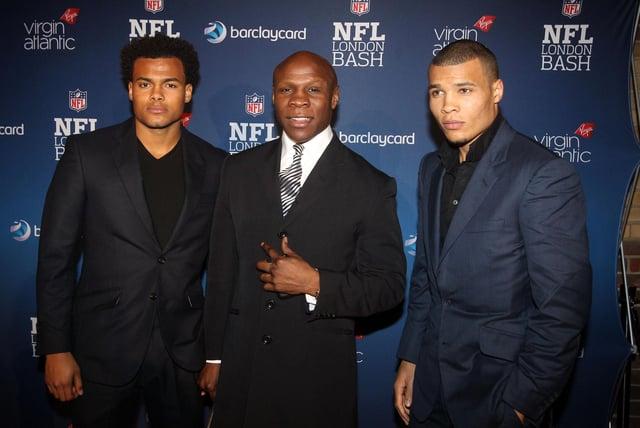 Chris Eubank with two of his sons Sebastian Eubank (left) and Chris Eubank Junior (right).