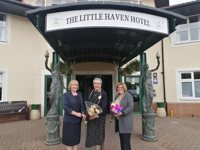Little Haven Hotel company secretary Paula Taylor with Mayor of South Tyneside Cllr Pat Hay and Mayoress Mrs Jean Copp who were visiting the venue South Shields to celebrate its reopening following the easing of lockdown restrictions.