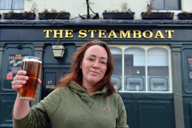 The Steamboat landlady Kath Brain is delighted to have received The Campaign for Real Ale (CAMRA) Gold Award.