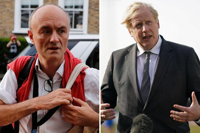 Boris Johnson (right) has faced a barrage of incendiary allegations from his former top advisor Dominic Cummings (left)