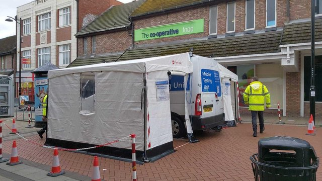 A mobile testing site set up in North Tyneside