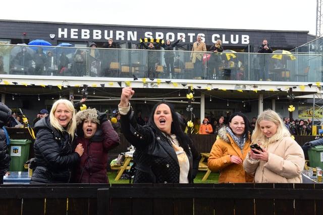Lynn Martin (centre)  the mother of winning goal scorer Olly Martrin, celebrates