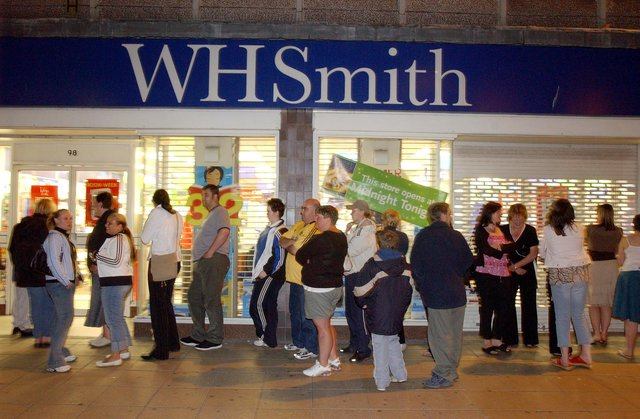 Queues outside WH Smith, in King Street, for the midnight release of a new Harry Potter book in a picture from the 2000s.