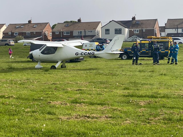 The light aircraft made two emergency landings at The Leas. Picture: Karl Mizen.