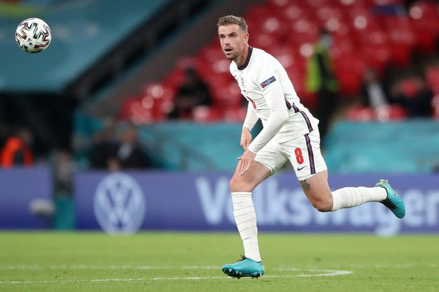Jordan Henderson in action for England against the Czech Republic at Euro 2020. PA image.