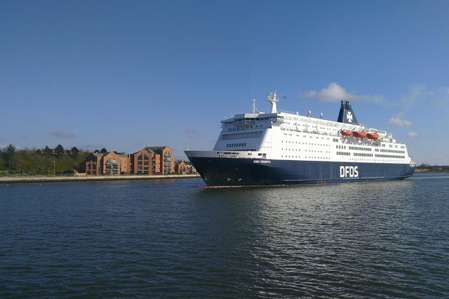 The DFDS ferry passing South Shields' Riverside area