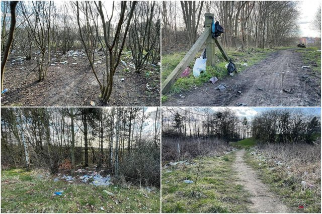 Rubbish has been left along the Chuter Ede fields walking route.