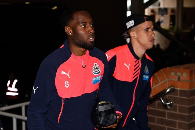 Vurnon Anita and Gabriel Obertan of Newcastle United arrive for the Barclays Premier League match between Newcastle United and Swansea City at St James' Park on April 16, 2016 in Newcastle, England.