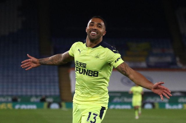 Newcastle United's English striker Callum Wilson celebrates scoring their third goal during the English Premier League football match between Leicester City and Newcastle United at King Power Stadium in Leicester, central England on May 7, 2021.