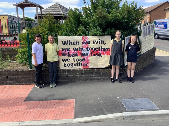 Jarrow Cross C of E Primary School pupils Jay Dykta Robinson, Lennon Appleby, Ella Tuthill and Sophia Langley with the posters.
