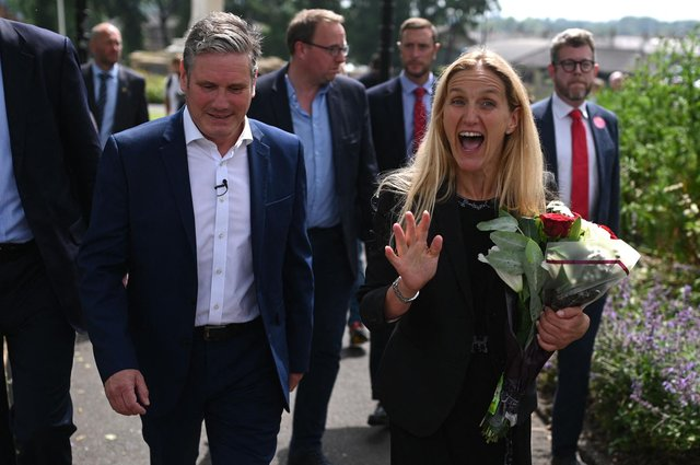 Successful Labour candidate Kim Leadbeater with Labour Party leader Keir Starmer (Photo by Oli SCARFF / AFP) (Photo by OLI SCARFF/AFP via Getty Images)