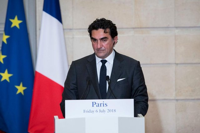 Saudi Arabia's Yasir Al-Rumayyan, the Managing Director of the Public Investment Fund gives a joint press conference on the Sovereign Health Funds program to fight climate change at the Elysee Palace, in Paris, on July 6, 2018.
