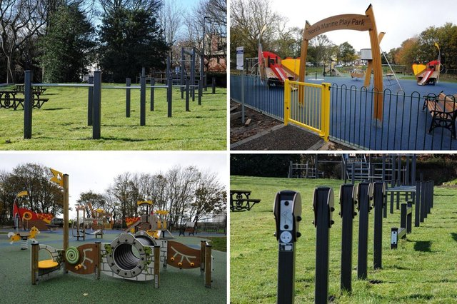 The new Roman-themed children's play area and adult fitness trim trail at the newly restored North Marine Park in South Shields.
