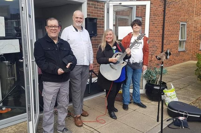 The collective has performed for South Tyneside care homes during the pandemic - here at Deanside Court. (left to right) Michael Houghton, singer; Ian Curry, co-founder of Into the Studio; Elaine Rennie, singer-songwriter; Daniel Curry, singer