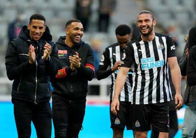 Andy Carroll with team-mates Isaac Hayden and Callum Wilson after Newcastle United's win over Sheffield United.