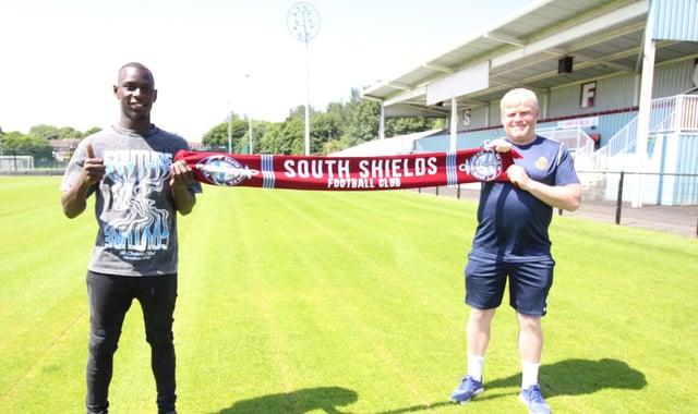 Ntumba Massanka and South Shields manager Graham Fenton.