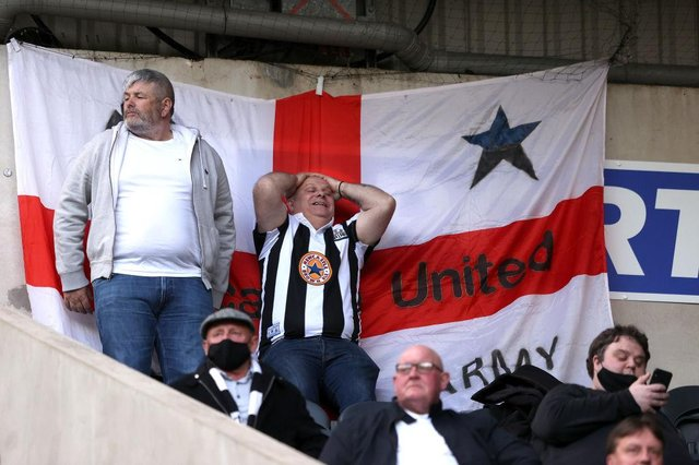 A Newcastle fan shows his frustration during the Premier League match between Newcastle United and Sheffield United at St. James Park on May 19, 2021 in Newcastle upon Tyne, England(Photo by Alex Pantling/Getty Images)