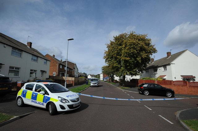 Police cordon around a property at Chevington, Leam Lane Estate, Gateshead, after a man was fatal stabbed.
