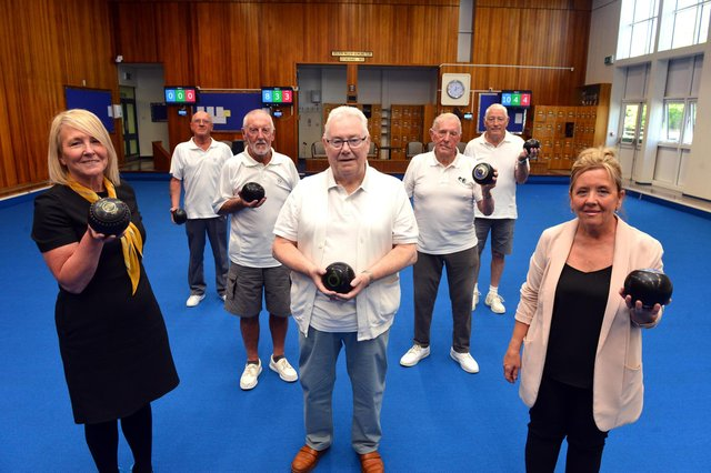 From left, centre manager Sue Topping with Coun Alison Strike and bowls team from left Keith Oxley, Les Waters, fixtures secretary Geoff Pattison, Phil Pye and Dave Lee.
