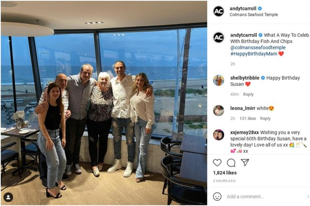 Newcastle United striker Andy Carroll and TOWIE fiancé Billie Mucklow enjoy a family meal at Colmans Seafood Temple in South Shields. Image: Andy Carroll/Instagram.