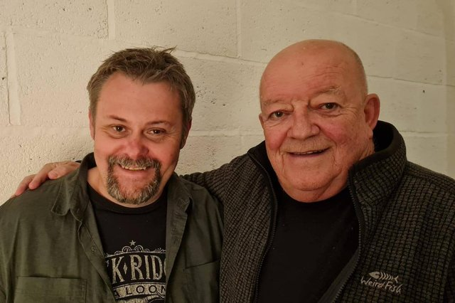 Scott Tyrrell with Tim Healy, taken at the Harbourmaster recording studio