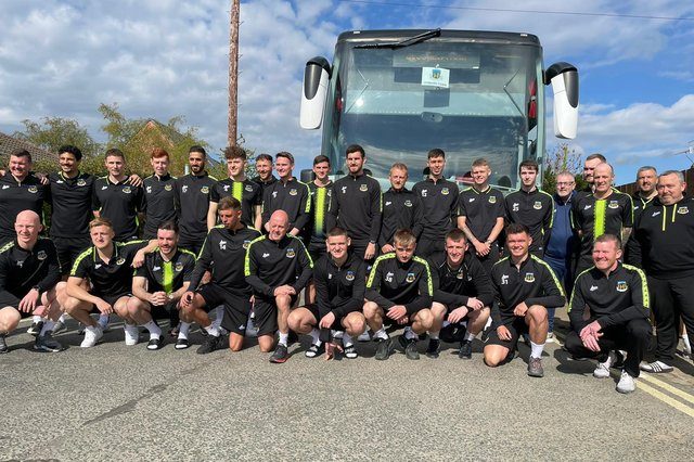 Hebburn Town Football Club players and coaching staff ahead of the FA Vase final.