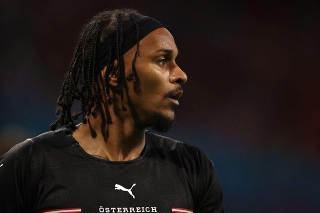 Austria's midfielder Valentino Lazaro look on during the UEFA EURO 2020 Group C football match between the Netherlands and Austria at the Johan Cruyff Arena in Amsterdam on June 17, 2021. (Photo by Dean Mouhtaropoulos / POOL / AFP) (Photo by DEAN MOUHTAROPOULOS/POOL/AFP via Getty Images)