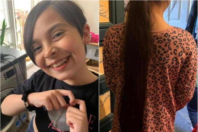 Amari Leonard had 29 inches of hair cut off to donate to the Little Princess Trust.