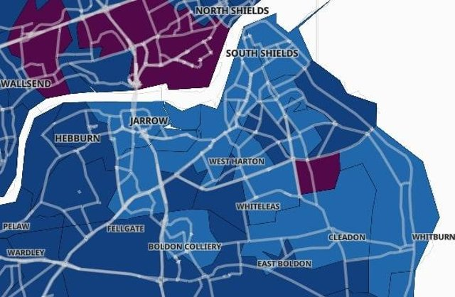 The 11 areas in South Tyneside with the highest Covid areas