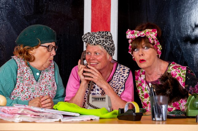 (l-r) Leah Bell, Vicky Entwistle and Vicki Michelle dressed ready for Dirty Dusting