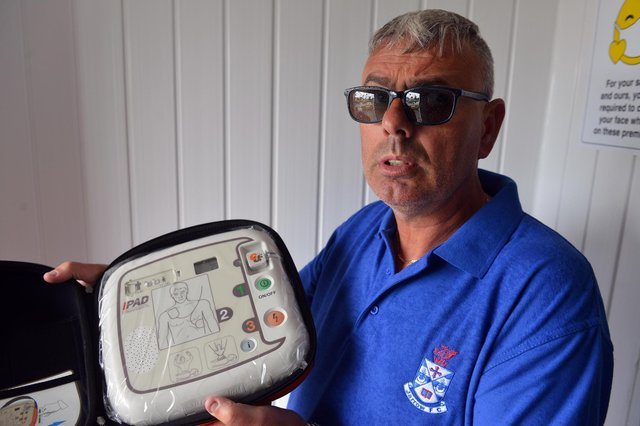 The Red Hackle pub owner Lee Hughes with the AEDs public access defibrillators.