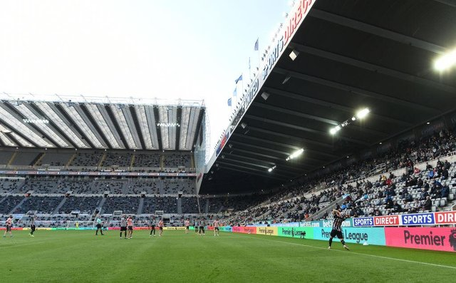 A general view of St James' Park during its first game back with fans during the Premier League match between Newcastle United and Sheffield United at St. James Park on May 19, 2021 in Newcastle upon Tyne, England.
