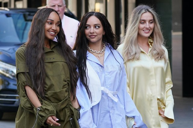 Little Mix -  Leigh-Anne Pinnock, Jade Thirlwall and Perrie Edwards - pictured arriving at the studios of Global Radio in London at the end of last month. Picture by PA.