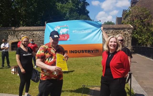 Graeme Brett, co-owner of the Westoe Travel firms (left), and South Shields MP, Emma Lewell-Buck (right).