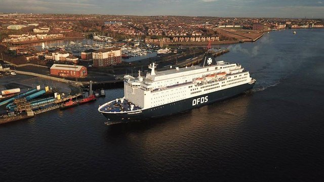 The DFDS ferry service to Amsterdam has resumed. Photo by Aaron O'Roarty and NE Drones Aerial Photography.