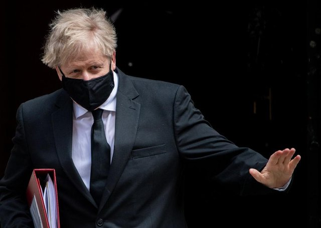British Prime Minister, Boris Johnson, leaves for the first Prime Ministers Questions after the Easter Recess at Downing Street on April 14, 2021 in London, England. (Photo by Chris J Ratcliffe/Getty Images)