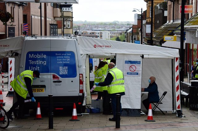 Mobile COVID-19 surge testing units are deployed in North Shields town centre as North Tyneside Council and the NHS  targets communities which are seeing concerning growth of the Indian coronavirus variant.