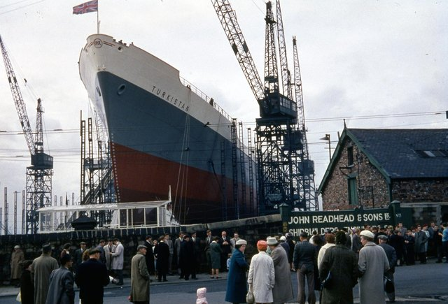 The launch of the refrigerated cargo ship 'Turkistan' at Readheads shipyard, South Shields, 12 September 1962.