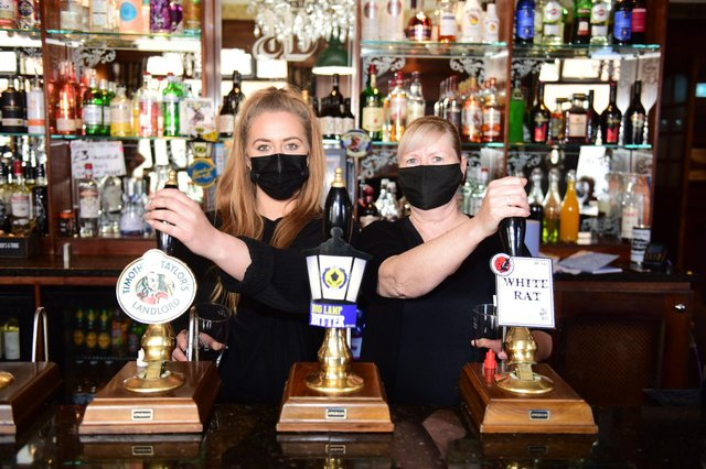 Bar staff at the Albion Gin & Ale House, Carhli Wilkinson (left) and Gillia Bewick.