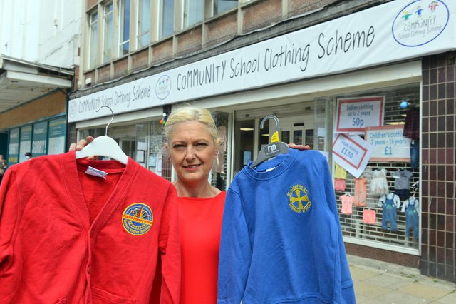 Community School Clothing Scheme founder Freema Chambers outside of the new South Shields store.