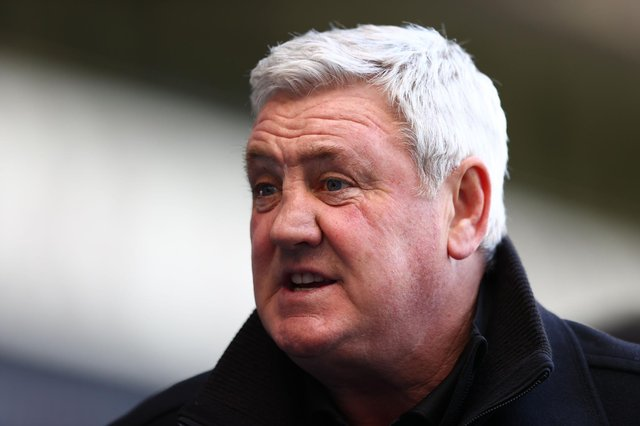 Newcastle United head coach Steve Bruce holds an interview after the English Premier League football match between West Bromwich Albion and Newcastle United at The Hawthorns stadium in West Bromwich, central England, on March 7, 2021.