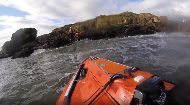 A photo shared by Tynemouth RNLI following the rescue, where it worked with the South Shields Volunteer Life Brigade to help two swimmers to safety.