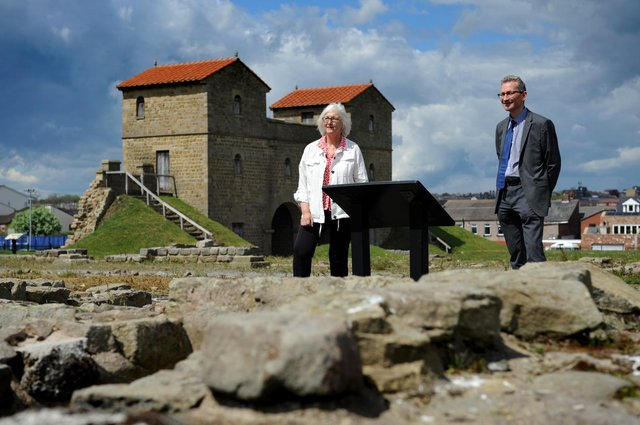 South Tyneside Council Cllr Joan Atkinson with Tyne and Wear Museum's Geoff Woodward at Arbeia Roman Fort, South Shields, marking English Tourism Week.