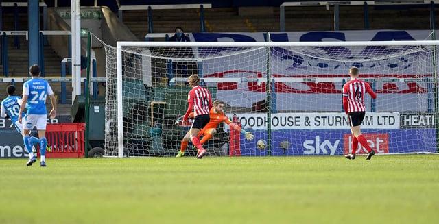 Siriki Dembele puts Peterborough into the lead against Sunderland